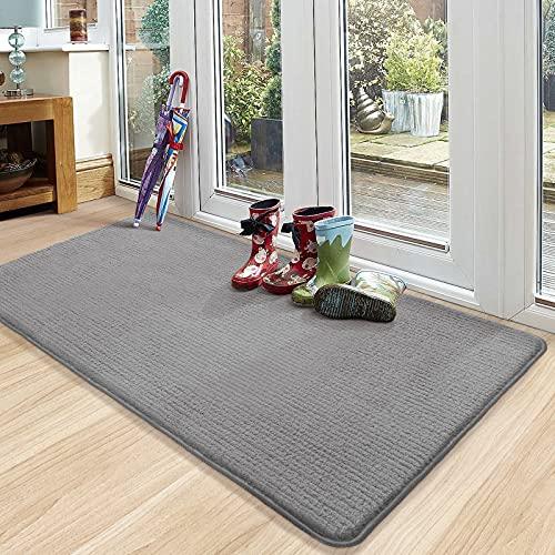 Color&Geometry Fußmatte Innen 90 x 150 cm Fußmatte Waschbar Schmutzfangmatte rutschfest, Türmatte Innen Teppich für Eingang, Patio, Flur, Garten, Innen und Außen (Grau)