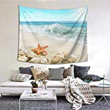 Colla Starfish Beach Tropical Sea Waves Seashell Ocean View Tapestry Wall Hanging Decorative Wall Art Tapestries for Bedroom, Living Room, Dorm, Home Decoration (59.1 X51.2 Inches)