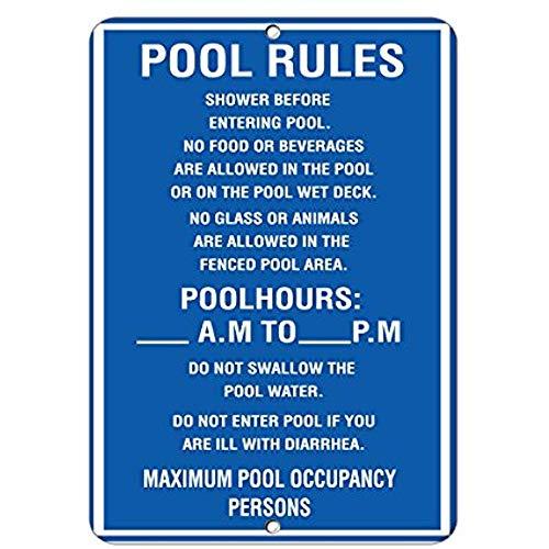 DKISEE reflecterende bord plaque zwembad regels douche voor het invoeren van zwembad geen eten of dranken waarschuwing kennisgeving aluminium metalen teken 8