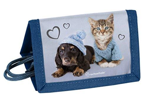 Kinder Geldbörse Portemonnaie Geldbeutel Jungen Mädchen Börse Brustbeutel (Blau Hund + Katze)