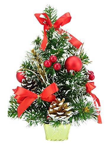 Christmas Concepts® 30cm (12') Árbol de Navidad Helado con Decoraciones Rojas y Conos de Pino