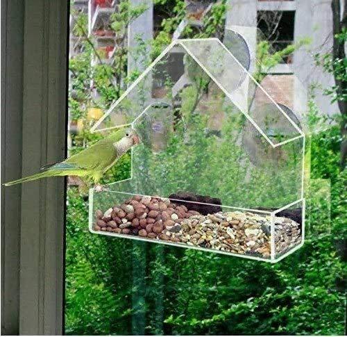 Alimentador del colibrí jardín for el alimentador de aves al aire libre con fuertes ventosas y la semilla de la bandeja, Birdfeeders al aire libre for las aves silvestres, Finch alimentador del pájaro