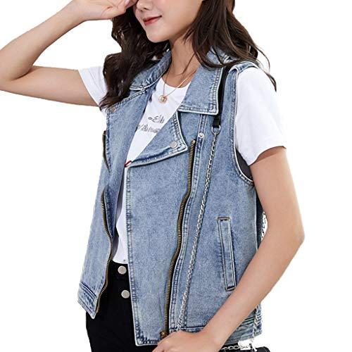 Zhanyi Denim-vest, licht los, mouwloos, met rits en zakken, casual vest met zakken