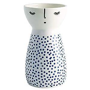 Silk Flower Arrangements Senliart White Ceramic Vase, Small Flower Vases for Home Décor, 5.9 X 3.2 (Polka Dot)
