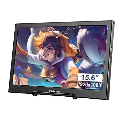 Tragbarer Monitor, Pisichen 15,6 Zoll TN-Bildschirm Full HD 1920 x 1080 HDMI Monitor Gaming tragbare ultradünne Schwarze Metallschale Eingebauter Lautsprecher, Kompatibel mit Laptop,Raspberry Pi