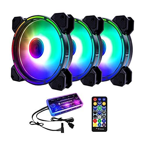 Range Tranquilo Ventilador de chasis, 12 cm Mute Light Interno + Controlador de música Ventilador de refrigeración de Escritorio Ventilador de CPU (3 Piezas) Fácil de Transportar e Instalar