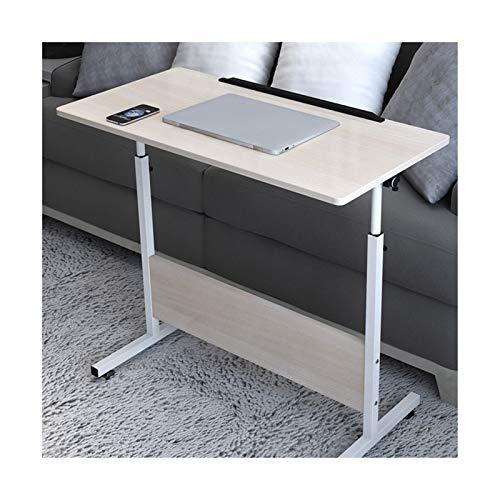 ABD Mesa sobrecama con ruedas, escritorio para ordenador portátil, altura ajustable, mesa portátil con ruedas (color: arce, tamaño: 80 x 40 cm)