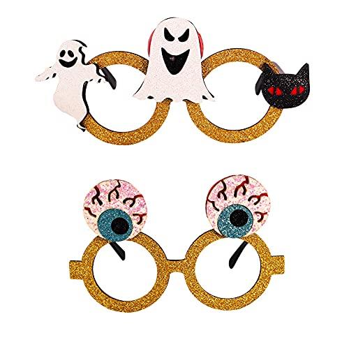 ZHMEHE Gafas Marcos Halloween 2pcs Anteojos Disfraces De Halloween para Fiestas Novedad, Divertido,búho,Fantasma,Esqueleto, Bruja para Decoración, Accesorio para Fotos para Niños