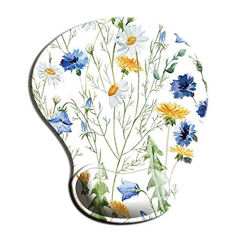 Dooke Ergonomic Mouse Pad with Wrist Support, Cute Mouse Pads with Non-Slip PU Base for Home Office Working Studying Easy Typing & Pain Relief Trendy Floral