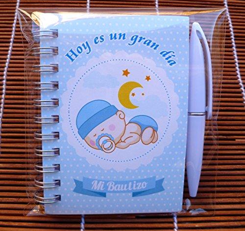 Recuerdos, Regalos y Detalles Originales Para Invitados Bautizo - Libretas para Bautizos niño con Mini Bolígrafo - 30 Unidades - ¡Tus Familiares y Amigos Alucinarán!