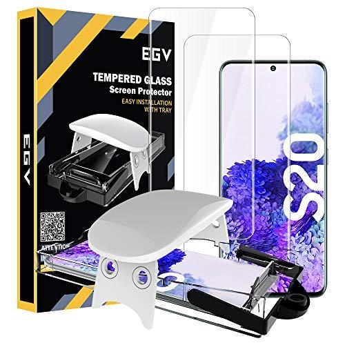 EGV Protector de Pantalla para Samsung Galaxy S20 (6.2 Pulgadas),[3D Cristal Vidrio Templado] [Admite reconocimiento de Huellas Digitales] [Dureza 9H] Película Protectora Pantalla Glas