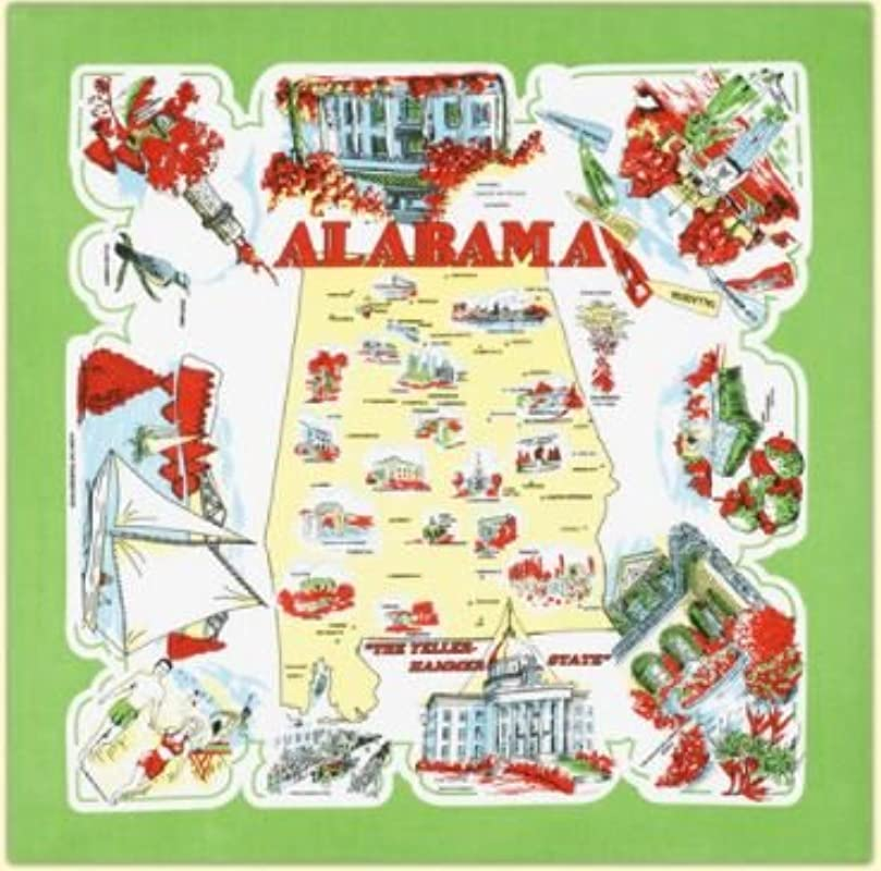 Alabama State Souvenir Dish Towel
