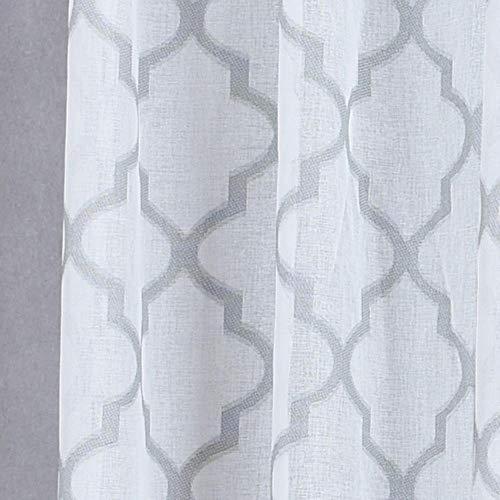 1 ST Moderne geometrische faux linnen gordijn semi-transparante jacquard keuken korte gordijn slaapkamer woonkamer gordijnen raam behandelingen, Lichtgrijs, W100cm L130cm
