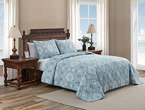 Tommy Bahama - Turtle Cove Collection - Quilt Set - 100% Cotton, Reversible Bedding with Matching Sham(s), Pre-Washed for Added Softness, Queen, Caribbean Blue