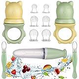 Lictin Alimentador de Fruta para Bebé-11 Piezas Chupete Fruta Bebe sin BPA Cuchara Dispensadora de Comida Alimentador Bebe Alimentador Antiahogo Bebe para Frutas,Verduras y Carnes