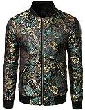 JOGAL Men's Luxury Paisley Floral Embroidered Satin Bomber Jacket Medium Black