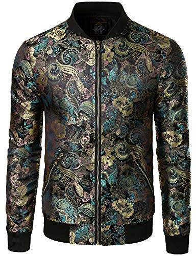 JOGAL Men's Luxury Paisley Embroidered Satin Bomber Jacket Coat Large Black