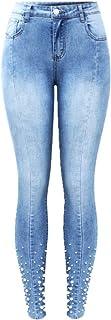 N\P Vaqueros con tachuelas de perla para mujer, cintura alta, elástica, patchwork, pantalones vaqueros ajustados para mujer