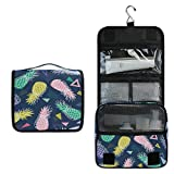 ALARGE - Bolsa de aseo colgante geométrica colorida tropical de piña para lavado de gárgaras, bolsa de viaje portátil grande, organizador de maquillaje para mujeres y hombres