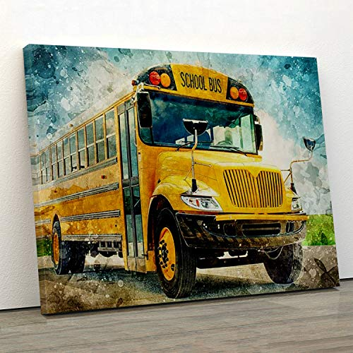 Grand Park Biker Canvas Wall Art Bus Driver Yellow School Bus Hanging Painting Photography Watercolor Living Classroom Home Decor No Frame