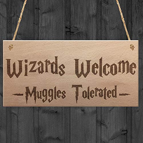 Tin Sign 8X12 inches Welcome Muggles Tolerated Gift Hanging Plaque Magic Home Sign