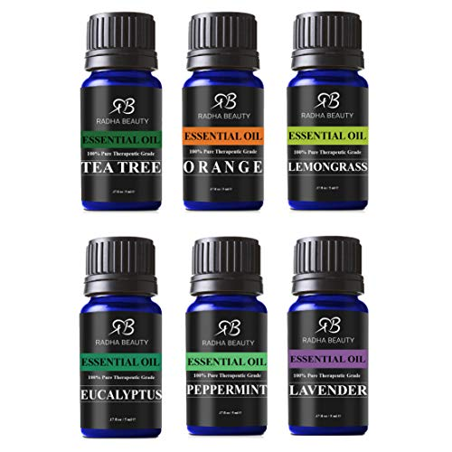 Radha Beauty Aromatherapy Top 6 Essential Oils (Lavender, Tea Tree, Eucalyptus, Lemongrass, Orange, Peppermint) - 100% Natural Basic Gift Set for Aromatherapy, Diffusers, Soap, DIY Skincare