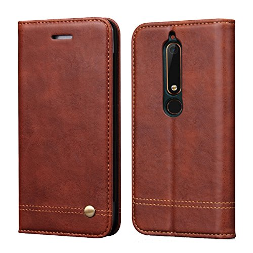 Nokia 6.1 2018 Case,Nokia 6 2018 Case,(Not for Nokia 6 2017'),RUIHUI Leather Wallet Folding Flip Protective Case Cover with Card Slots,Kickstand Feature and Magnetic Closure[Classic Edition](Brown)
