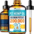 Hemp Oil for Dogs and Cats 200 000 - Premium Dog Supplement - Dog Calming Aid for Stress & Anxiety Relief - Pet Relief Rich in Omega 3-6-9 - Hip & Joint Health & Inflammation Relief