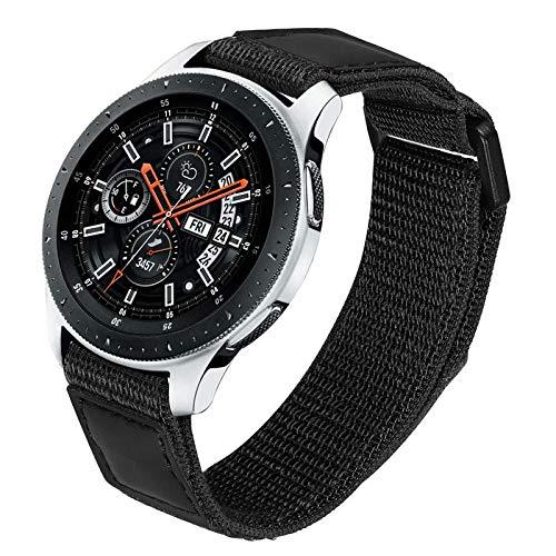 TRUMiRR Reemplazo para Samsung Galaxy Watch3 45mm/Galaxy Watch 46mm/Gear S3 Nylon Correa, 22mm Correa de Reloj de Nylon Tejido y Cuero Genuino Correa de liberación rápida para Huawei Watch GT 2 46mm