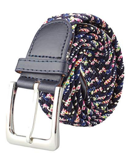 Alex Flittner Designs Elastischer Stoffgürtel Geflochtener Stretchgürtel Dehnbarer Gürtel für Damen und Herren in schwarz bunt