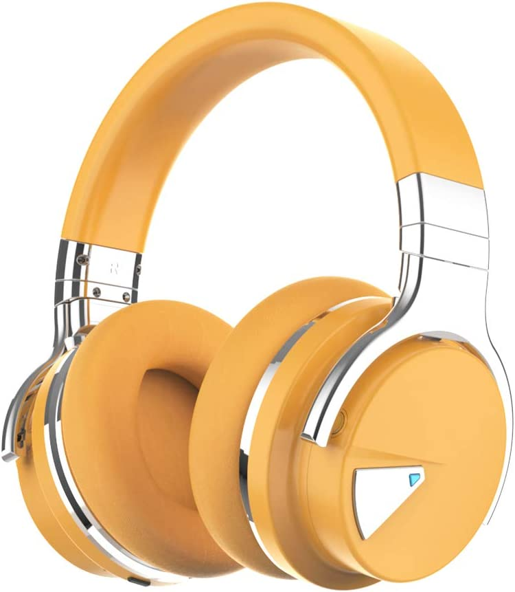 COWIN E7 Active Noise Cancelling Headphones Bluetooth Headphones with Microphone Deep Bass Wireless Headphones Over Ear, Comfortable Protein Earpads, 30 Hours Playtime for Travel/Work, Yellow