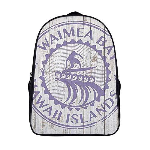 XIAHAILE Mochila de estilo clásico para portátil Multiusos Daypacks,Waimea Bay Hawaii Surfer Beach