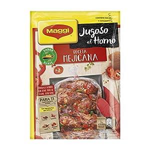 1 bolsa de especias para el horno Maggi con condimento sazonador para preparar pollo asado a la receta mejicana Con ingredientes que conoces: comino, guindilla, canela y pimentón dulce Para que tus recetas de carne (pollo, costillas…) o pescado (salm...