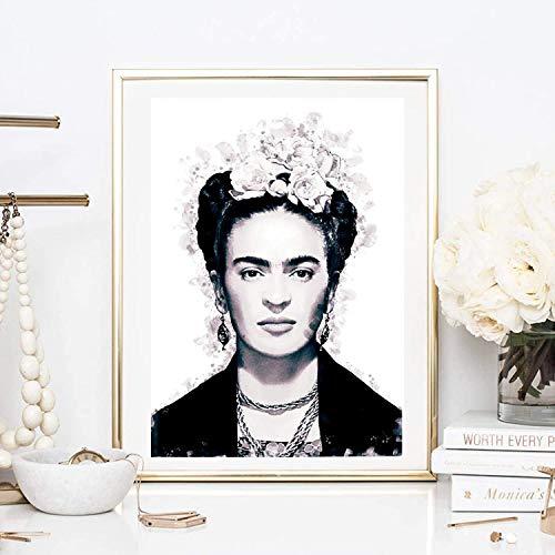 Din A4 Kunstdruck ungerahmt - Frida Kahlo Portrait Foto Fotokunst Künstlerin Star Ikone schwarz Druck Poster Bild