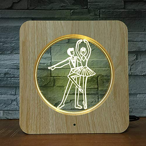 Colorful Three-Dimensional Ballet Dance 3D Table Lamp LED Plastic Night Light Children Color Home Decoration | Visual Light Gift 3D Small Table Lamp
