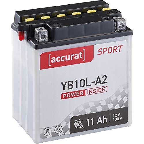 Accurat Motorrad-Batterie YB10L-A2 11Ah 130A 12V Standard-Nassbatterie inkl. Säurepack WET Starterbatterie in Erstausrüsterqualität leistungsstark