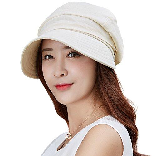 Comhats Damen Faltbarer Sonnenhut mit Visor UPF 50+ beige Baumwolle
