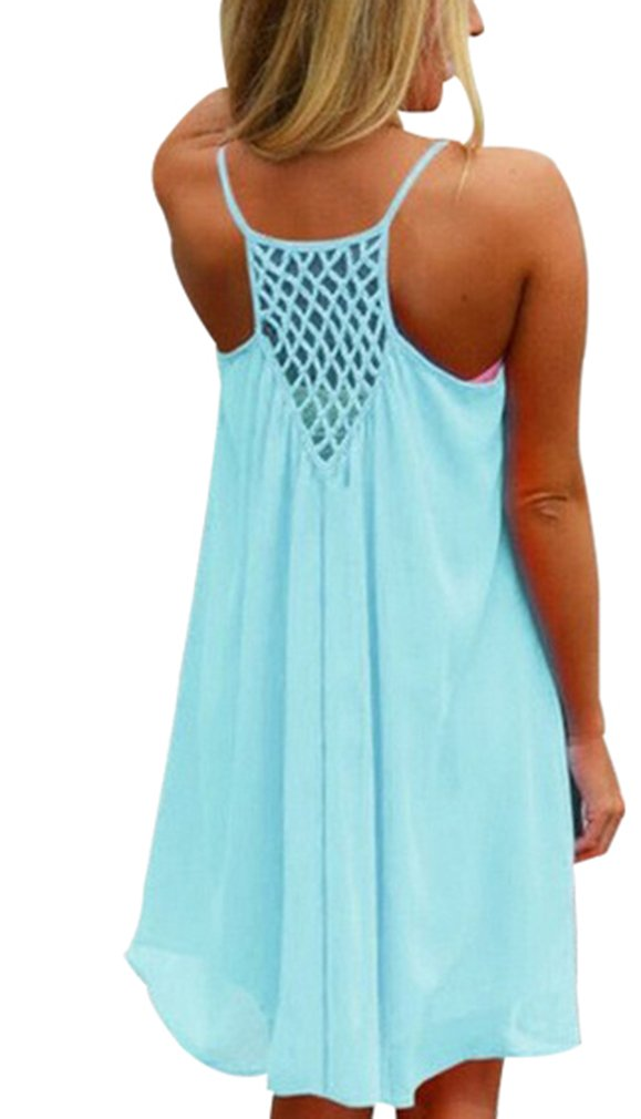Available at Amazon: Sumtory Women's Strappy Grid Stitching Back Summer Chiffon Dress
