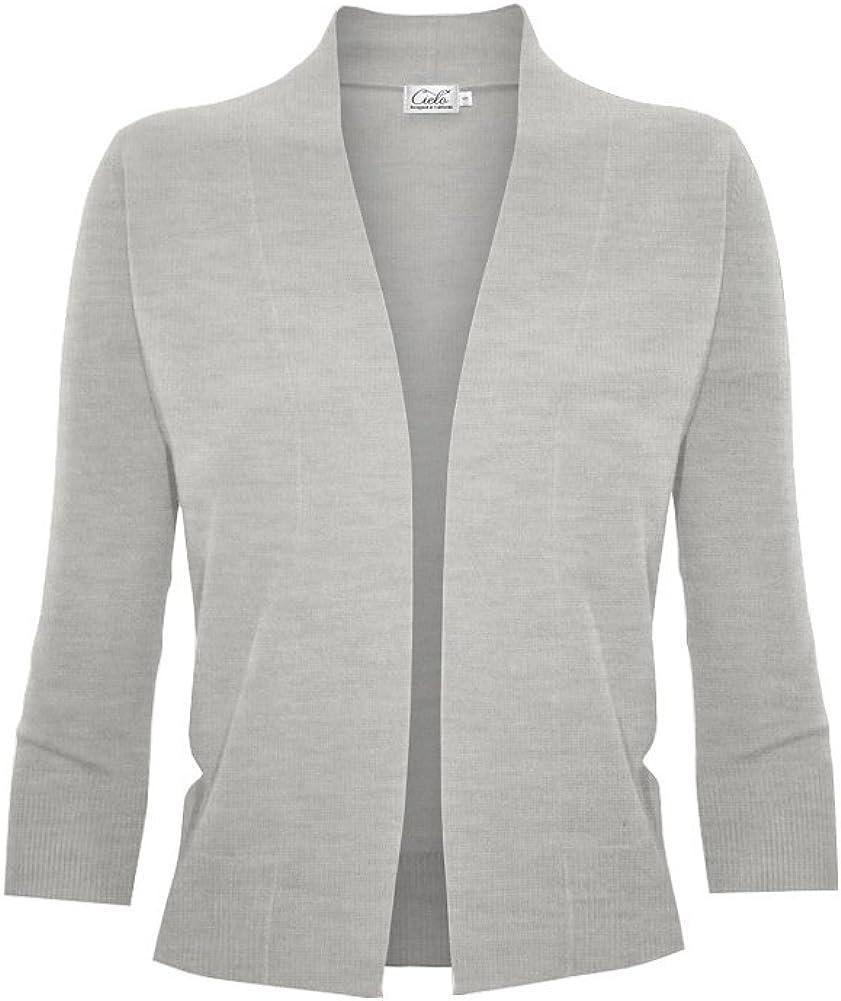 Cielo Women's Knit Cropped Sweater Bolero Cardigan Three Quarter Sleeve - Full Sleeve