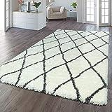 TT Home - Tappeto a pelo lungo Flokati, effetto soffice, shaggy rombi, colore: crema, antracite, dimensioni: 80 x 150 cm