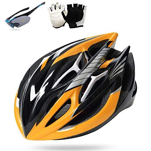 HVW Adultos Casco de Bicicletas, Casco de Bicicleta con Gafas Glove Transpirable...