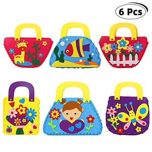 Richaa Kit de Costura para niños,6 PCS Craft Kits de Fieltro para niños Principiante DIY Bolso para niños Curso de Arte Regalos para niñas