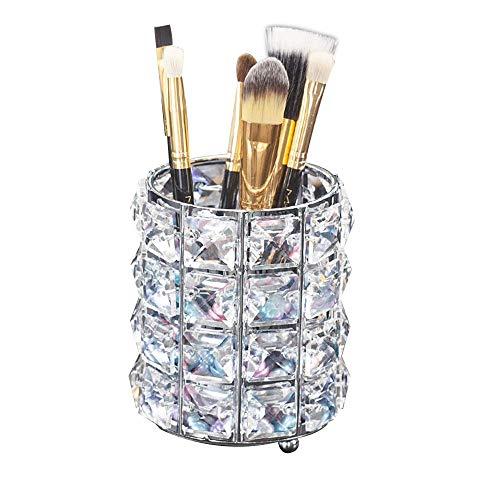 Organizador de Brochas de Maquillaje, Soporte de Cepillo de Maquillaje de Cristal, Organizador de Contenedor de Soporte de Vaso de Lápiz de Cosméticos para Decoración de Escritorio (Plata)
