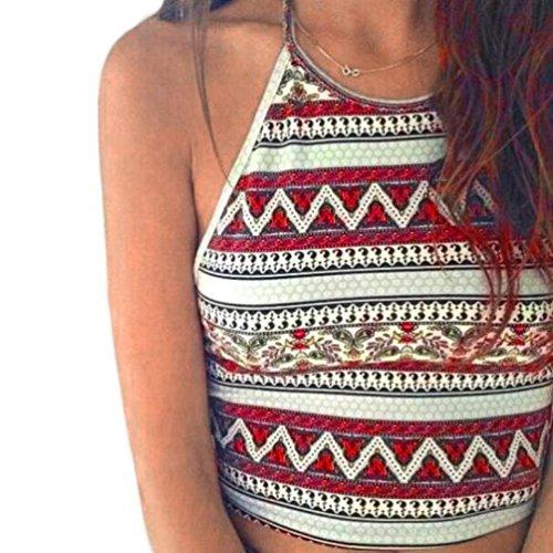 Price comparison product image NEARTIME Women's Vest,  Boho Tank Tops Bustier Bra Vest Crop Bralette Shirt Cami (S,  Red)