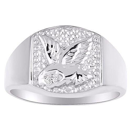 Plata de Ley Anillo De Diamante o amarillo chapado en oro Eagle anillo