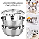 FinWell Multifunctional Stainless Steel Basin Drain Basket Vegetable Cutter 3 in 1 Kitchen Julienne Grater Grating Basin
