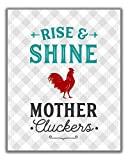 Funny 'Mother Cluckers'' Kitchen Wall Art Sign - 8x10 UNFRAMED Gray, Teal, Red & White Kitchen Print Perfect for Modern Farmhouse, Rustic, Vintage, Cottage, Country and Retro Decor.