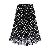 Sayhi Polka Dot Long Skirt Womens Pleated High Waist Midi Skirt Elastic Waist Skirt Long Summer Skirts for Women(Black,XXL)