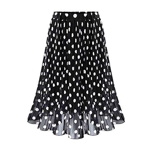 LSAltd Mode Frauen Vintage Polka Dot Plissee Ausgestelltes Skater Rock Damen Urlaub Hohe Taille Swing Rock