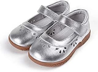 SandQ baby Girls Silver Leather Mary Jane Shoe with Cutouts